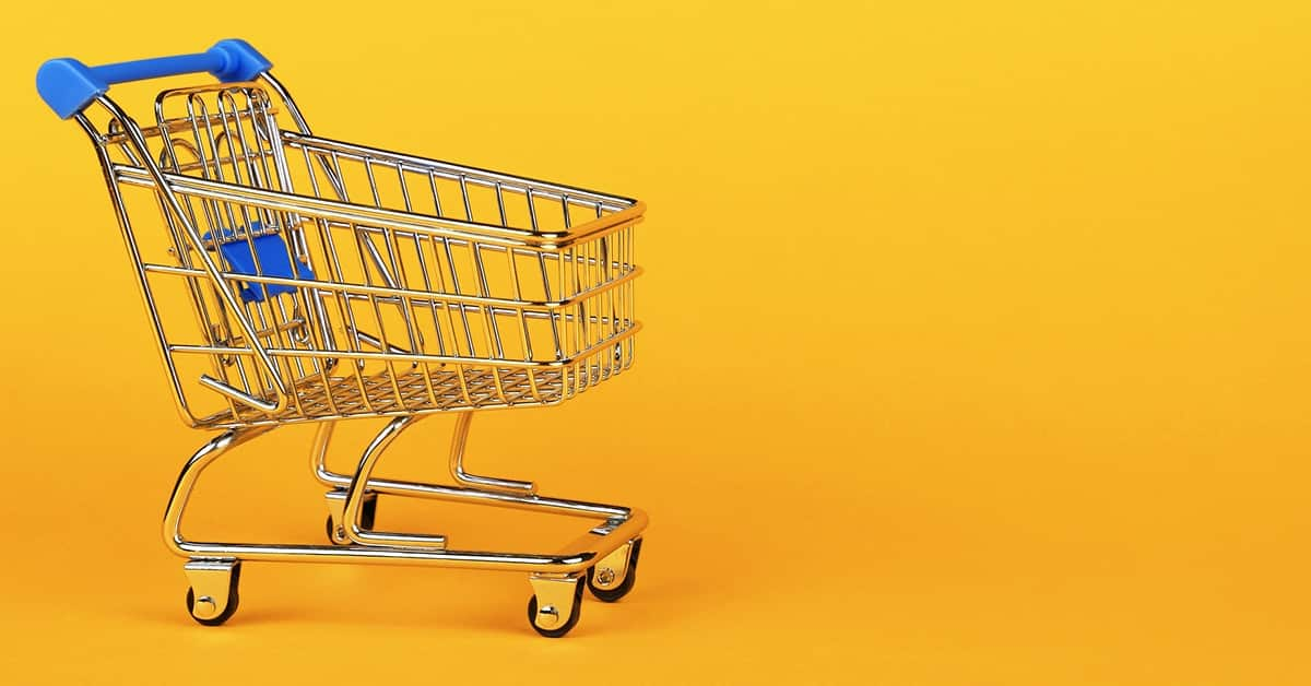 grocery cart in yellow room