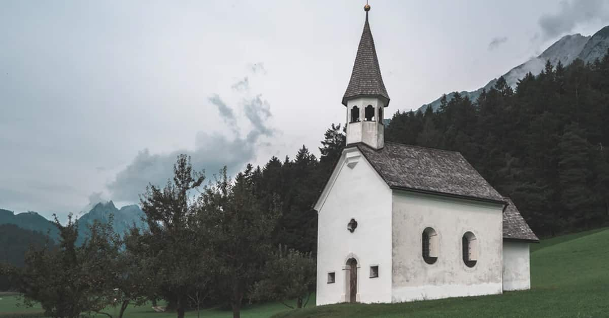 small country church building cloudy day