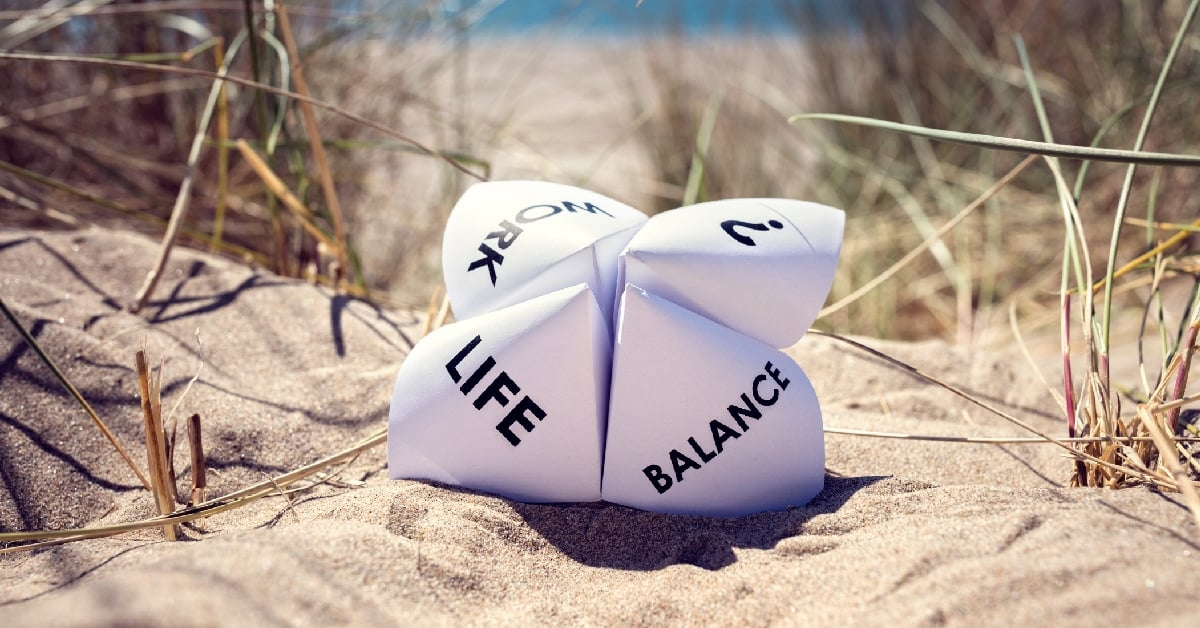 work life balance beach paper fortune teller