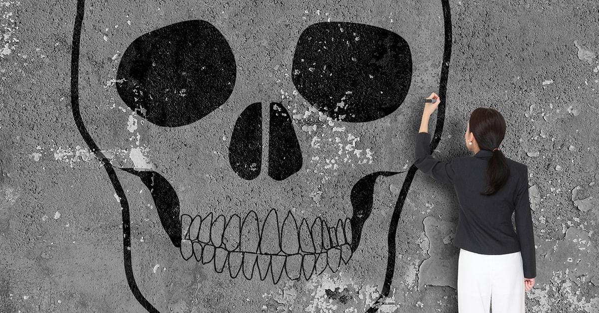 leave relationship if in danger skull drawing