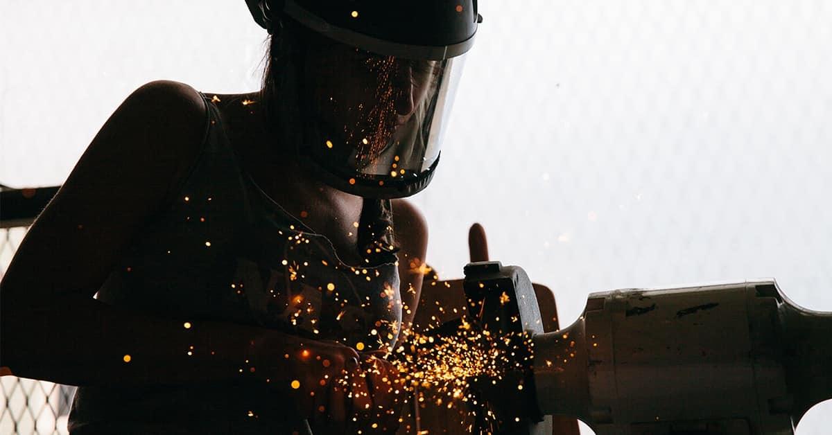 female welder silhouette