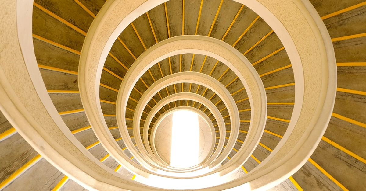 spiral expanding staircase