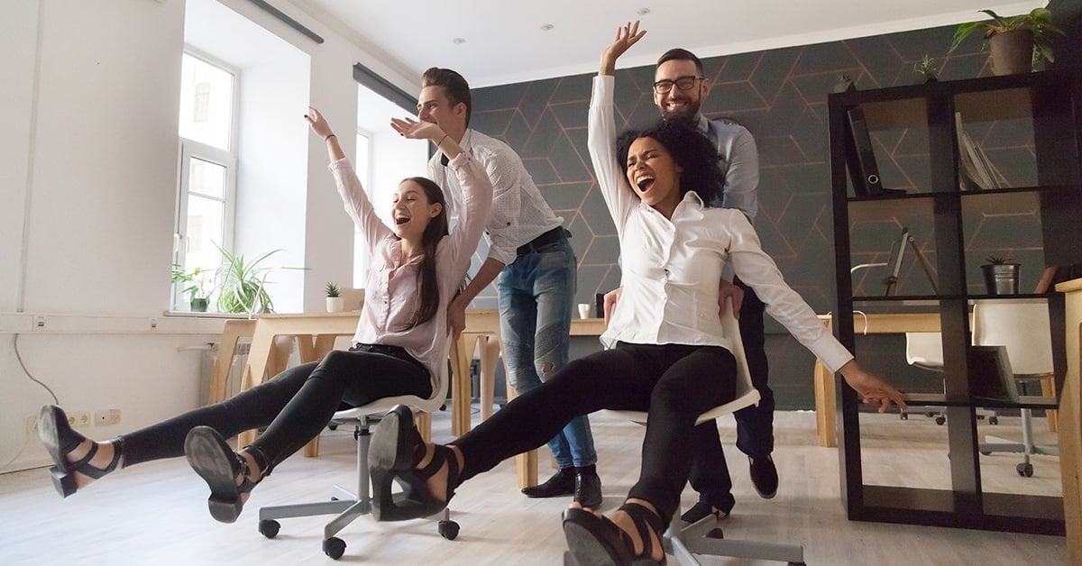 office shenanigans chairs rolling